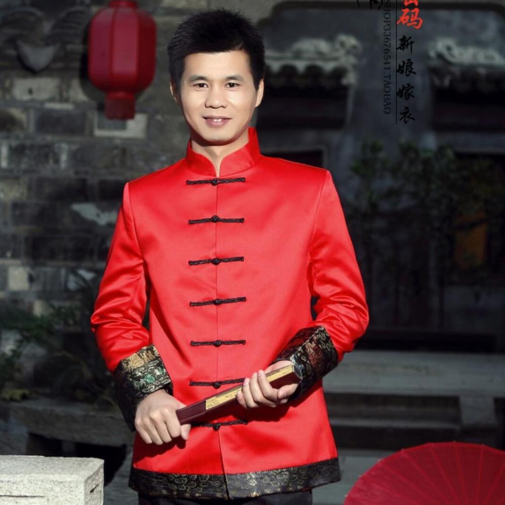 Male costume chinese style wedding dress men tang suit chinese tunic suit groom thick the loading