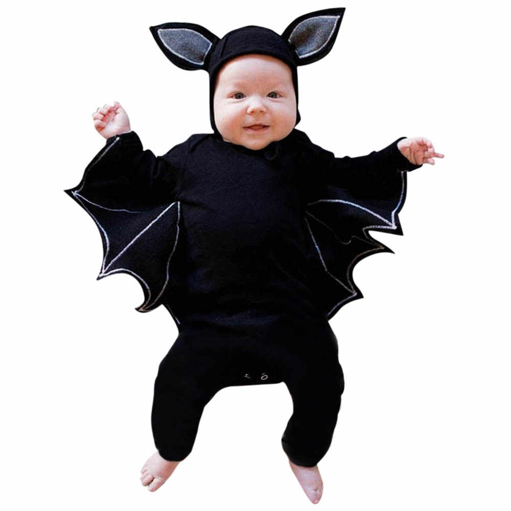 2018 NEW Fashion Toddler Newborn Baby Boys Girls Halloween Cosplay Costume Romper Hat Outfits Set Novelty bat Sleeve  14