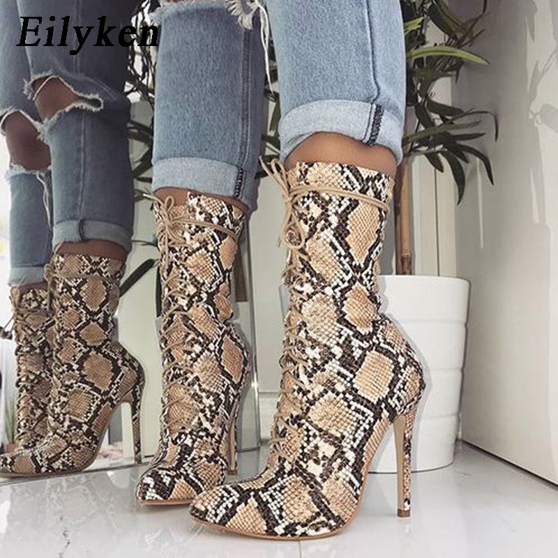 Eilyken 2018 New Lace-Up Women Boots Snake Print Ankle Boots High heels Fashion Pointed toe Ladies Sexy shoes Chelsea Boots цена