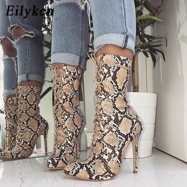 Eilyken 2019 Nuove Donne Lace-Up Stivali di Serpente Stampa Stivaletti Alti talloni di Modo Delle Signore punta a punta scarpe Sexy chelsea Stivali