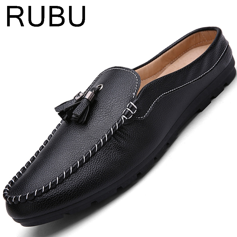 Summer mens backless Moccasins men Loafers High Quality Leather Shoes Flats Gommino Driving chaussure homme heren schoenen /05 summer causal shoes men loafers genuine leather moccasins men driving shoes high quality flats for man