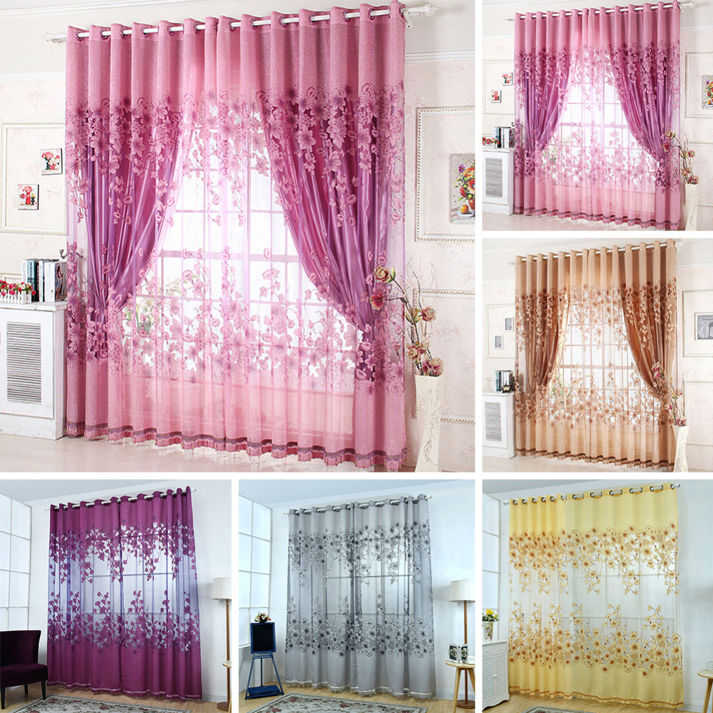 Cafe curtains for bedroom - 1pc New Modern Window Curtains Floral Tulle Curtains For Living Room Curtains For Bedroom 229319
