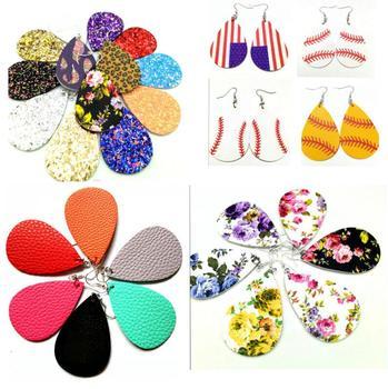 AKOLION Women's Faux Leather Floral Print Teardrop Dangle Pierced Earrings 1