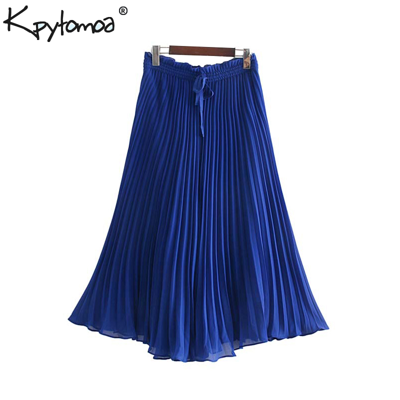 Vintage Chic Pleated Chiffon   Wide     Leg     Pants   Women 2019 Fashion Elastic Waist Drawstring Calf Trousers Casual Pantalones Mujer