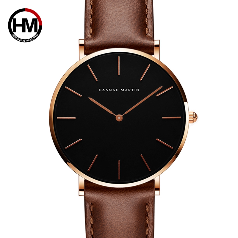 2018 HANNAH MARTIN Brand Fashion Simple Japan Quartz Movement Watch Leather Strap Nylon Clock Women Analog Waterproof Wristwatch