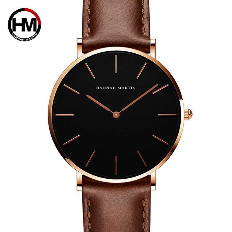 6960d145c 2018 HANNAH MARTIN Brand Fashion Simple Japan Quartz Movement Watch Leather  Strap Nylon Clock Women Analog