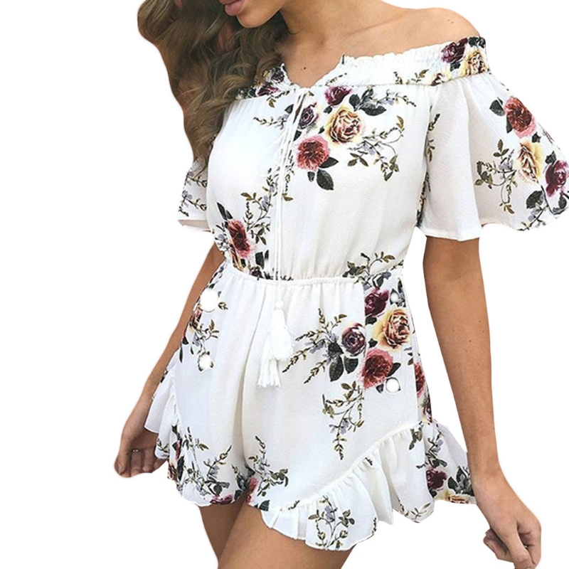 Women's Summer Floral Printed Off Shoulder Short Sleeves Romper   Jumpsuit