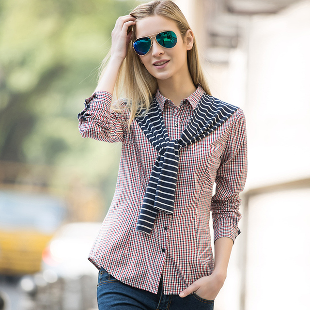 Veri Gude Women False Two Blouse Striped Plaid Shirt Patchwork Plaid Striped Shirt Free Shipping