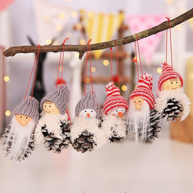Гала-зоны 3 шт./лот Малый шишка куклы висит кулон Санта Клаус снеговик куклы подарок для елочные украшения