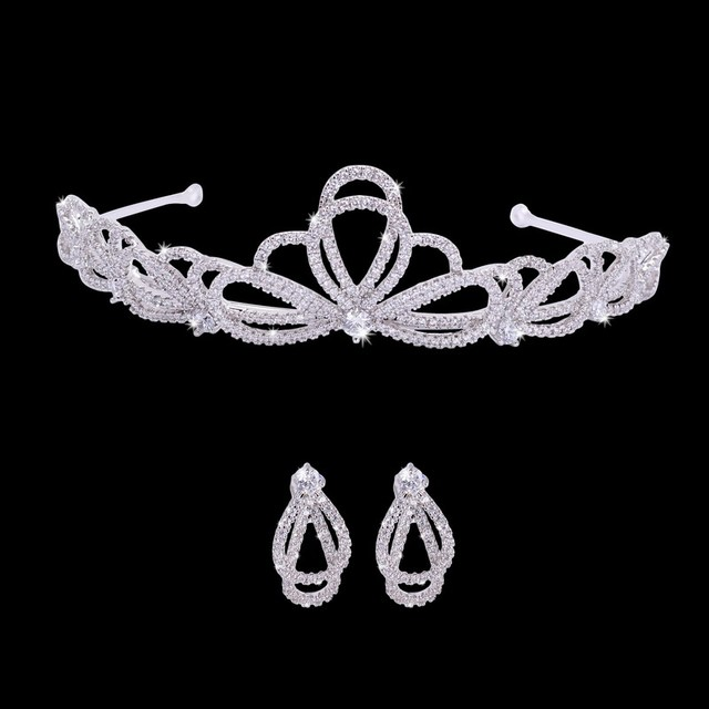 White Gold Plated Hairwear Bridal Wedding Tiaras&Earring Jewelry Set Women Party Fashion Hair Accessories