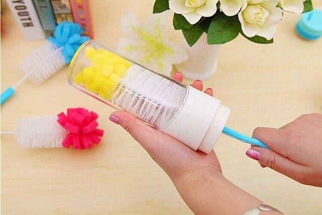 Baby Bottle Brushes Nipple Brushes Spout Tube Teat Sponge Baby Feeding Bottle Cleaning Brush Cup Brush 3