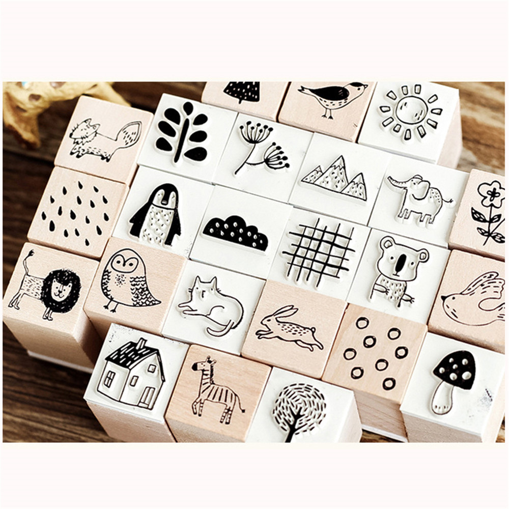 2019NEW 1PC Vintage Forest Series Wooden Rubber Stamp  For Scrapbooking Stationery Painting Cards Decor DIY Craft  2x2x3.3cm