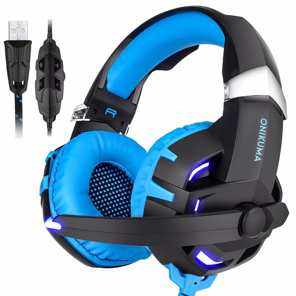Onikuma K2 USB 7.1 Channel Sound Stereo Gaming Headphones Casque Gamer Headset with Mic LED Light for Computer PC Laptop v2000 headset 7 1 channel 3 5mm jack bass stereo sound effect gaming headphone with mic for computer pc laptop gamer earphone