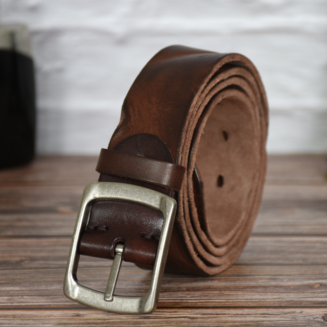 crazy horse cowhide leather belt genuine leather belt for men brown color pin buckle jean's strap vintage cinto 1
