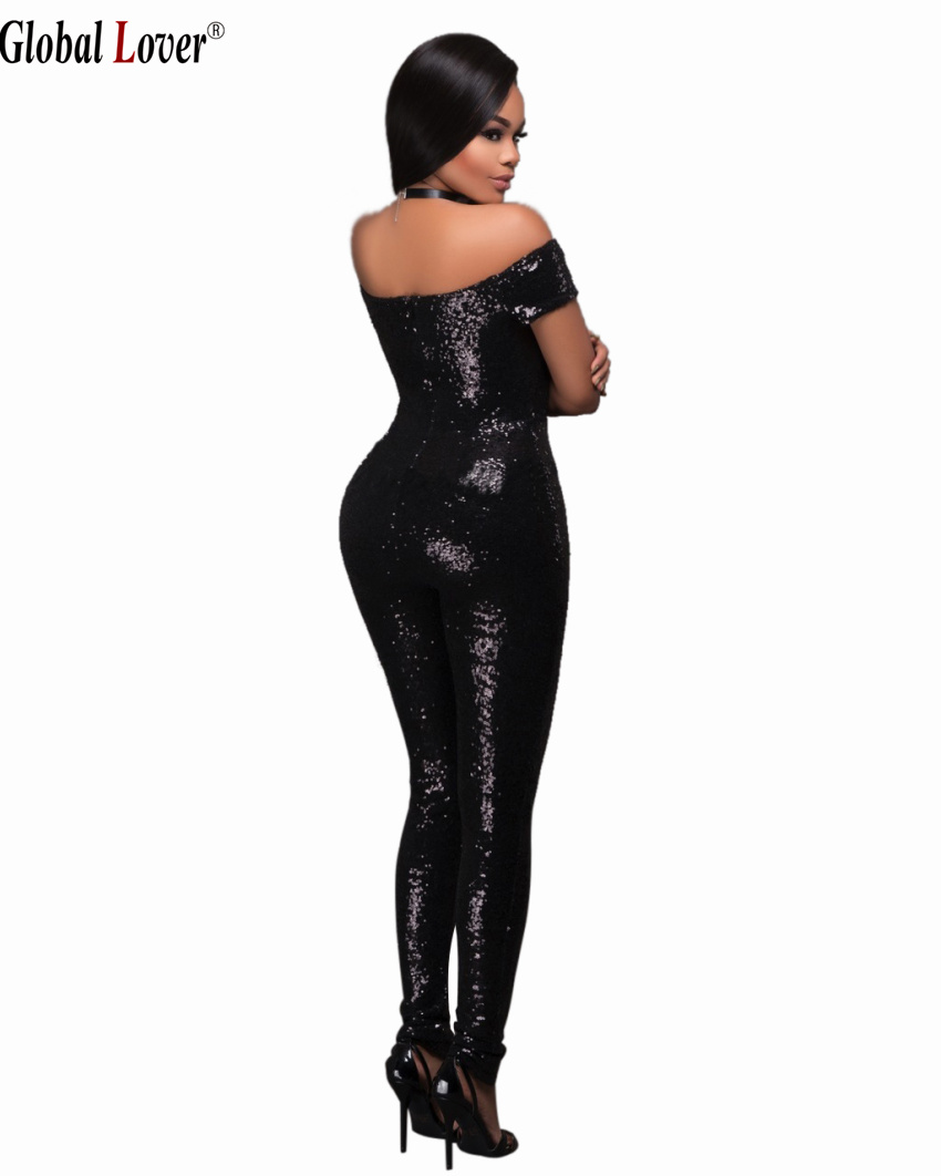 ae4ee4215d7 Elegant Black Women Sequin Jumpsuit Plus Size Bandage Sexy Strapless  Bodysuits Womens Fashion Overalls Gold Sequined Jumpsuits-in Jumpsuits from  Women s ...