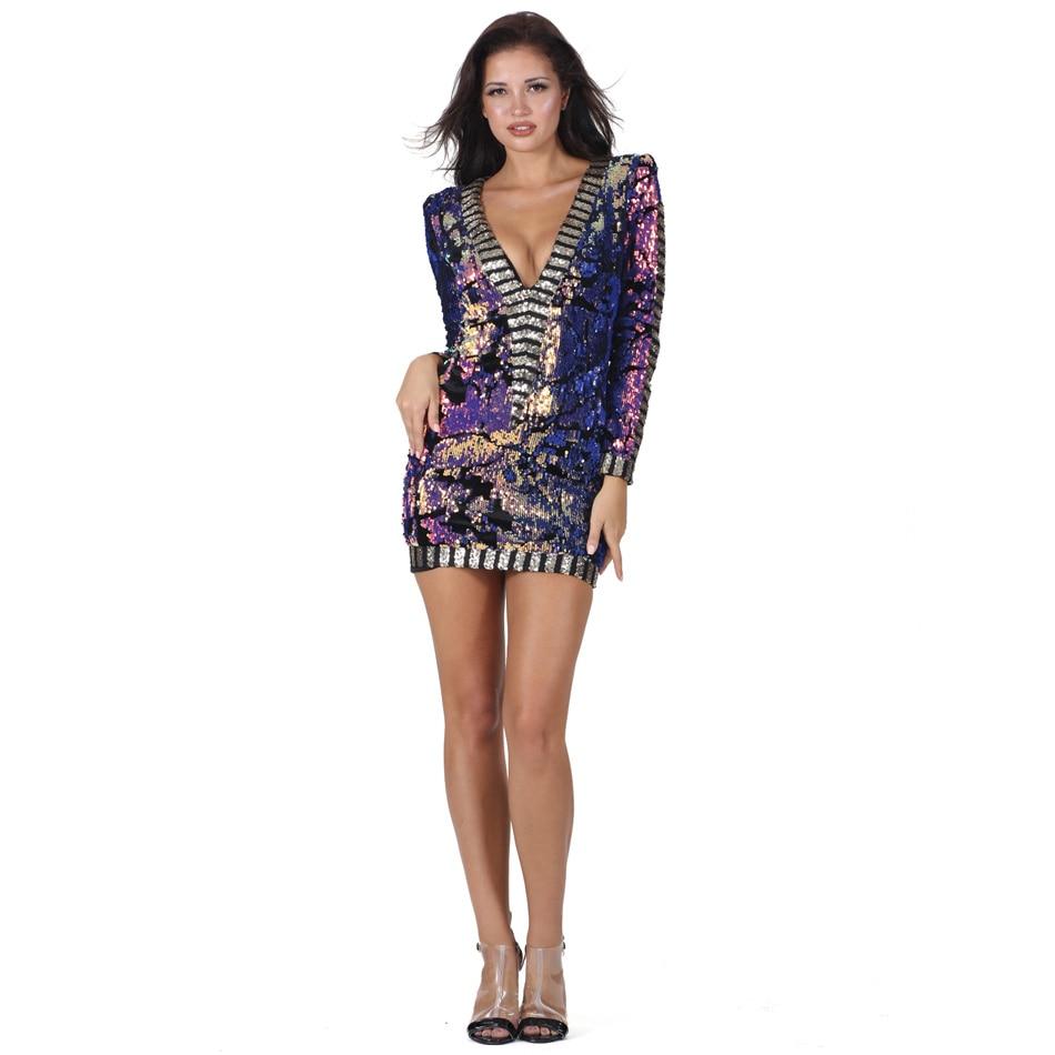 S Curve Multi colored Sequins Party Dress V Neck Long ...