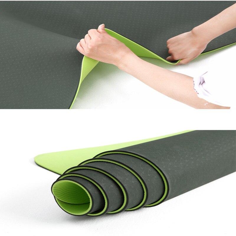 ✔  Коврик для йоги двойной цвет 183   80см толщиной 8мм противоскольжения спортивные упражнения фитнес  ①