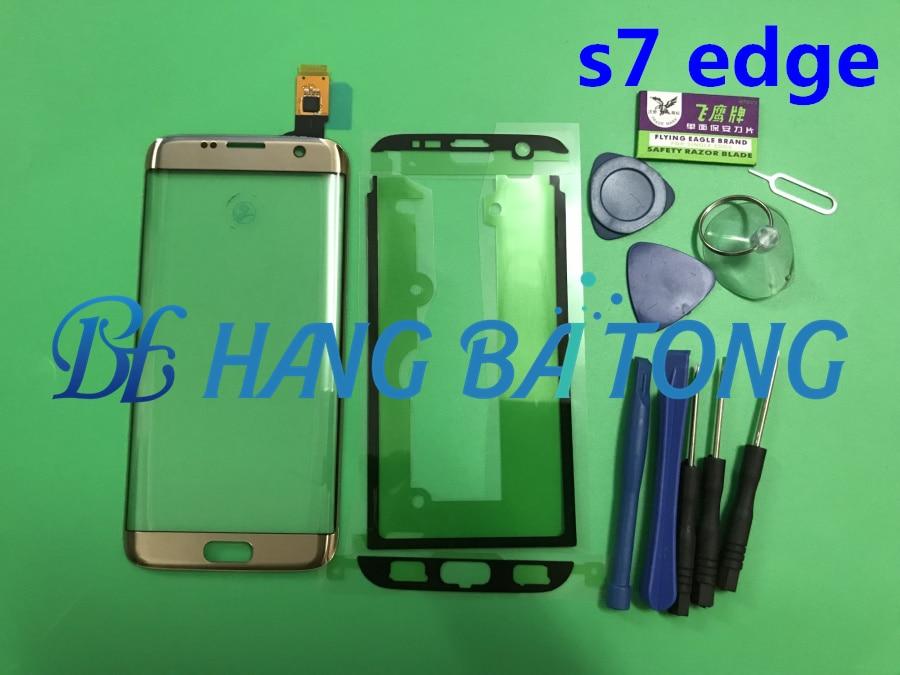 D'origine Pour Samsung s7 bord G935F G935A LCD affichage tactile extra-atmosphérique panneau écran en verre Avant de remplacement Lentille En Verre + Autocollants + outils