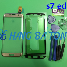 Original For Samsung s7 edge G935F G935A LCD display outer touch panel screen glass replacement Front Glass Lens+Stickers+Tools