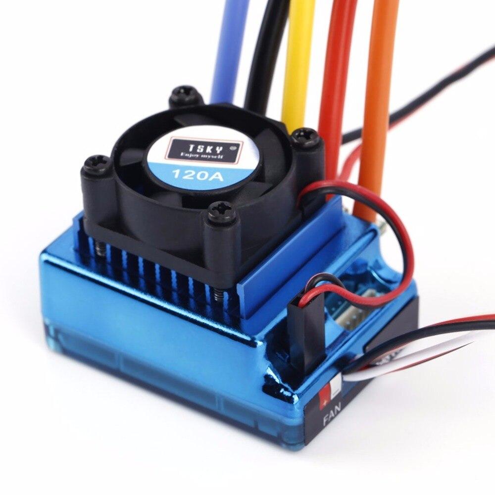 Firmware Updatable Sensored Sensorless Brushless Motor ESC 120A for RC Racing Car Truck 5.75V BEC 2-3S Lipo Input