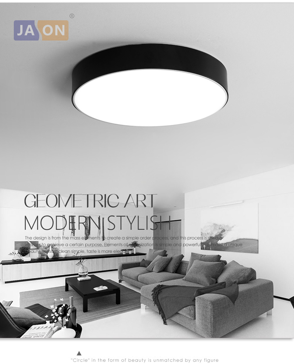 LED Modern Acryl Alloy Black White Round LED Lamp.LED Light.Ceiling ...