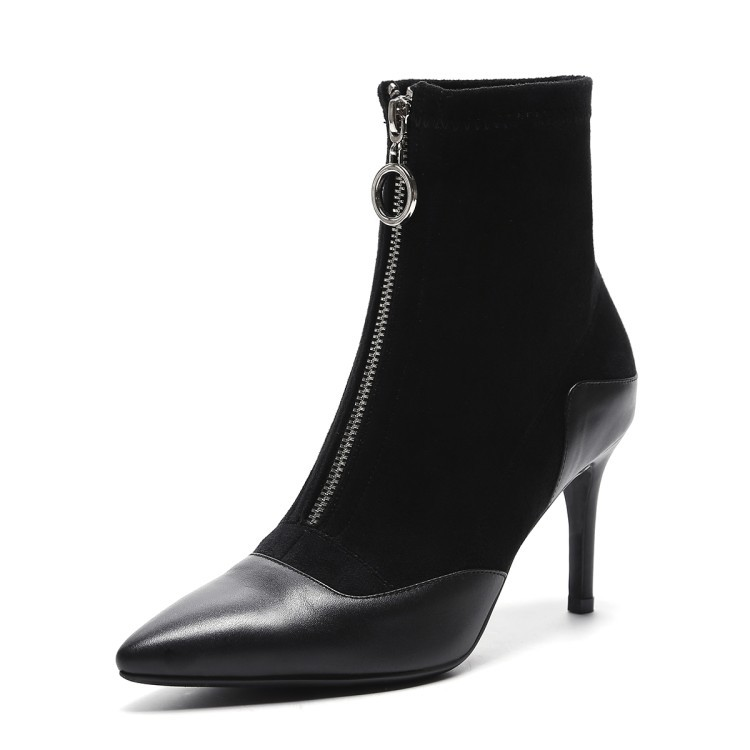 2017 Winter Pointed Toe Front Zipper Elastic Ankle Boots Women's Sexy High Heels Booties Pumps Stiletto Shoes