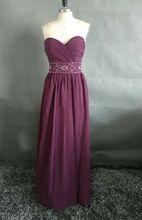 Custom Made Cheap Bridesmaid Dress Floor Length Sweetheart Zipper Back Beaded Sash Maid of Honor Dress