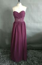 Custom Made Cheap Bridesmaid Dress Floor Length Sweetheart  Zipper Back  Beaded Sash Maid of Honor Dress