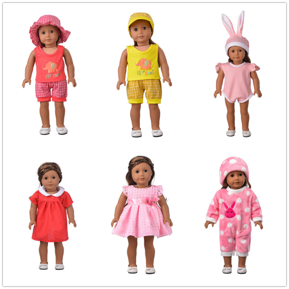 ZWSISU 6 Color Pajamas Doll Clothes Wear fit 18 inch American Girl,Children best Birthday Gift
