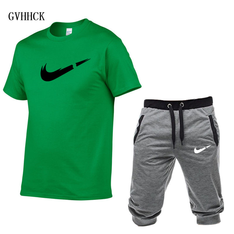 HTB1jDKXPCrqK1RjSZK9q6xyypXaS Summer New Tracksuit Men Shorts Casual Men's Sportswear Suit Shorts Brand Clothing Two Pieces Top Tee+Shorts Sweat Suits 2019