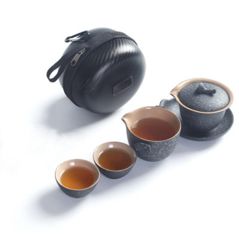 Durable Kung Fu Teapot Ceramics Travel Tea Set Handmade Pattern Teapot Teacup Gaiwan Tureen Tea Ceremony For Women Men Drinkware