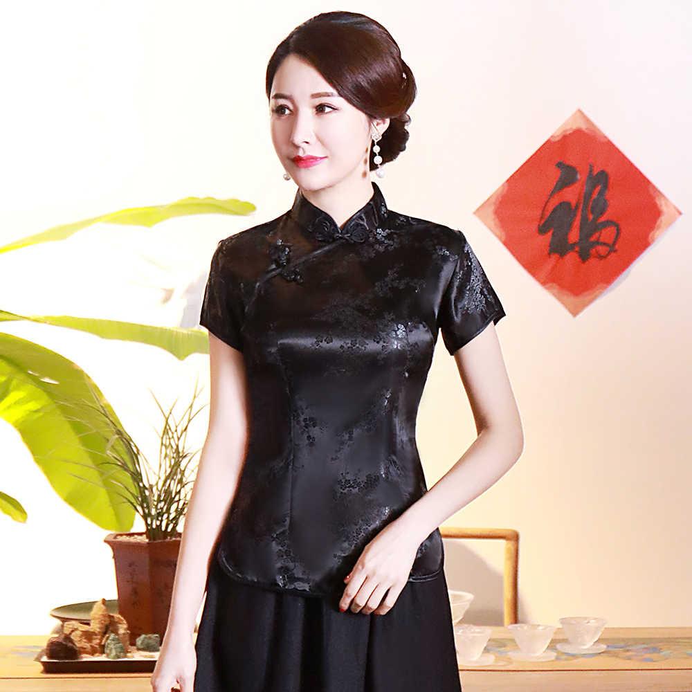 ヴィンテージの花の女性中国の伝統的なサテンブラウス夏セクシーなシャツノベルティドラゴン服のトップスプラスサイズ 3XL 4XL WS009