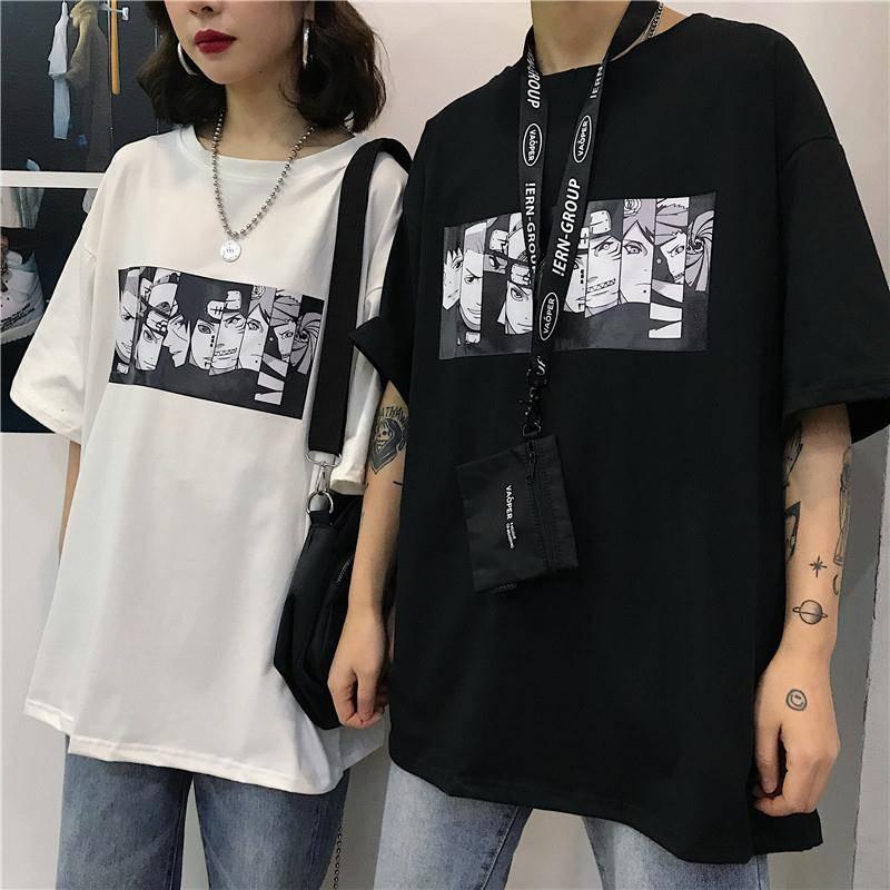 Cool Harajuku Naruto T-shirt Streetwear hommes mode d'été Amine T-shirt décontracté Cartoon imprimé hommes hauts drôle japon T-shirt garçons