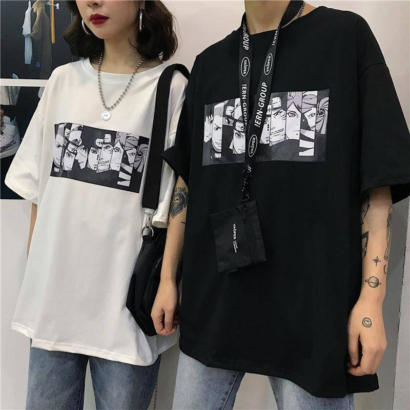 Cool Harajuku Naruto Tshirt Streetwear Men Cotton Summer Amine T-shirt Casual Cartoon Print male tops Funny Japan T Shirt Boys