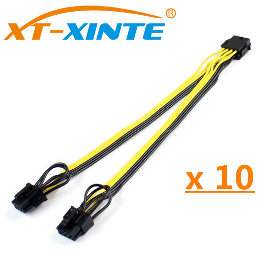 все цены на 10PCS CPU 8Pin to Graphics Video Card Double PCI-E PCIe 8Pin (6Pin+2Pin) Power Supply Splitter Cable Cord Famale to Male 15cm онлайн
