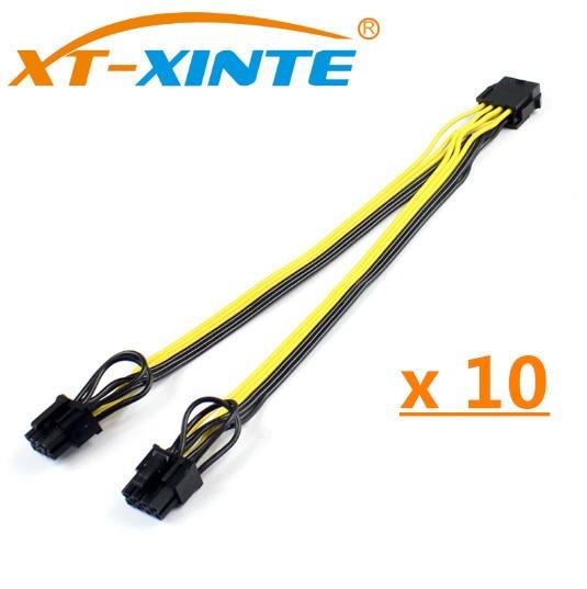 10 шт., 8-контактный к видеокарте CPU, двойной PCI-E PCIe 8Pin (6Pin + 2Pin), разветвитель питания, кабель от Famale до Male 15 см