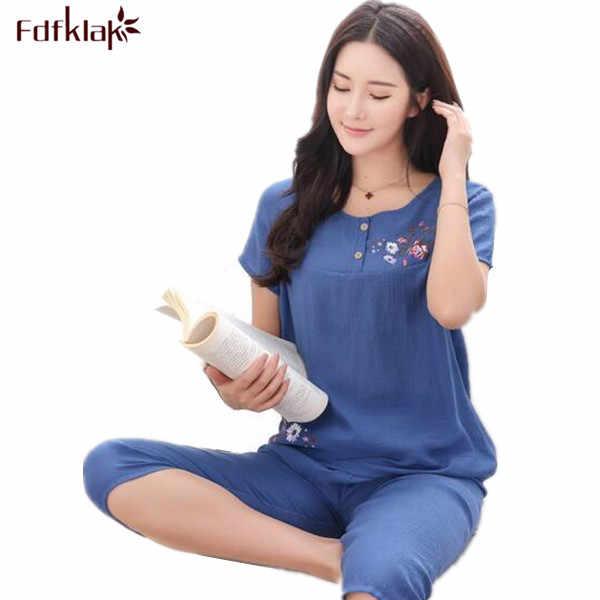 f4b942dcfb Fdfklak Summer Pajamas Short Sleeve Print Ladies Cotton Nightwear Sleep    Lounge Pyjama Set Linen Pijamas
