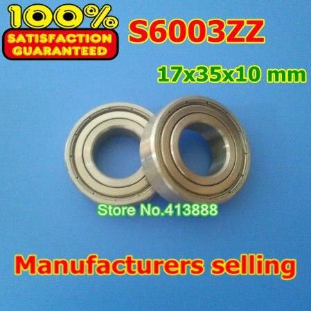 10 шт./лот SUS440C высокого качества ABEC-1 Z2V1 из нержавеющей стали Глубокие шаровые подшипники S6003ZZ 17*35*10 мм