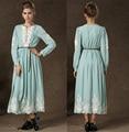 Высокое качество Весна Осень турецких женщин одежда Старинные Вышивки Абая Мусульманский Платье Элегантный Исламская Одежда халат мусульманского