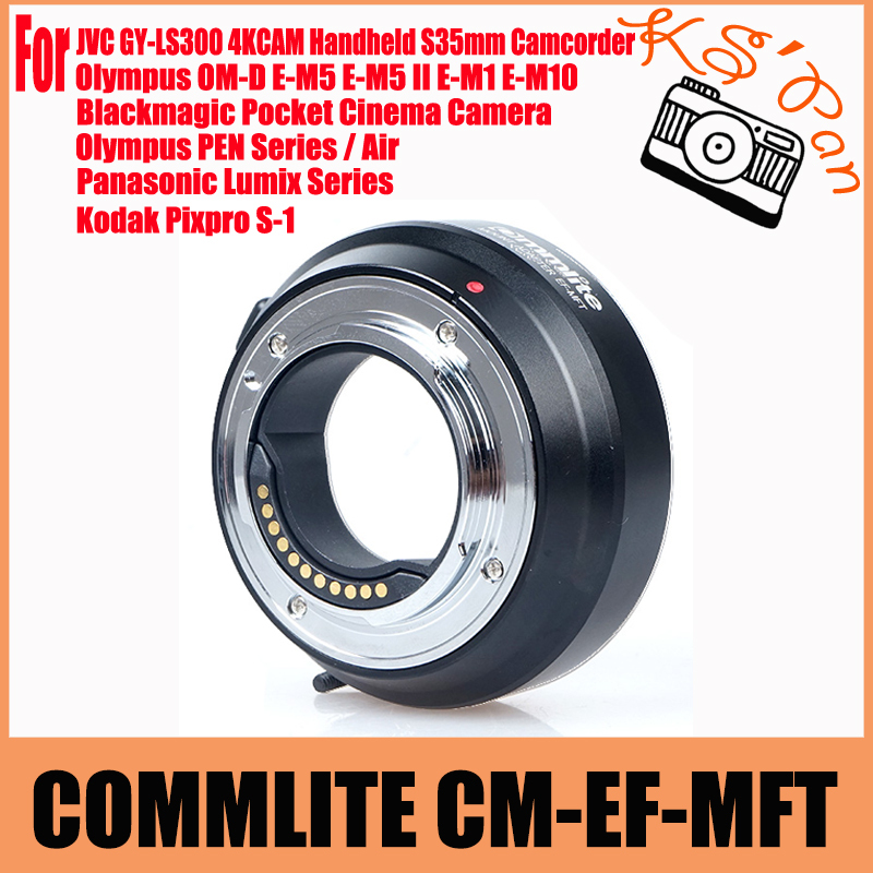 Adaptateur d'objectif COMMLITE CM-EF-MFT pour Canon EOS EF/EF-S à Micro quatre tiers/MFT