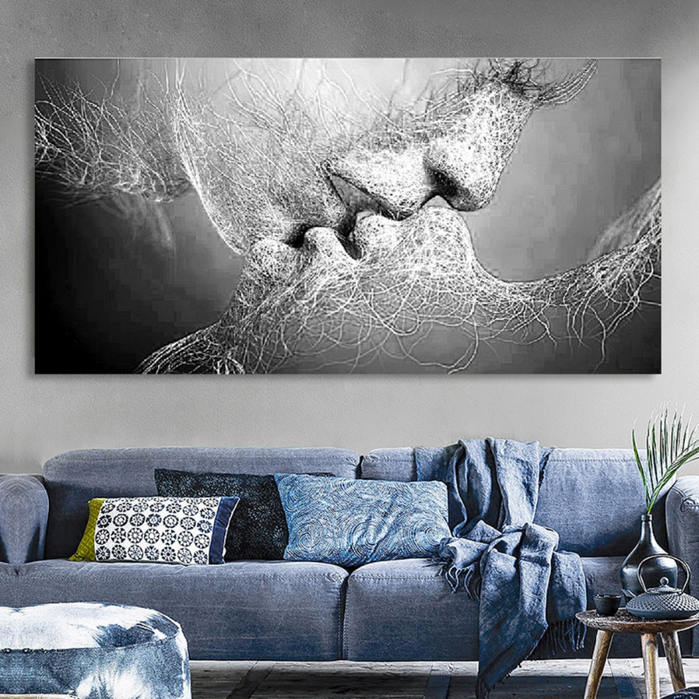 Black Love Kiss Canvas Painting Abstract Print Poster Pictures Home Bedroom Living Room Decoration Wall Art(China)