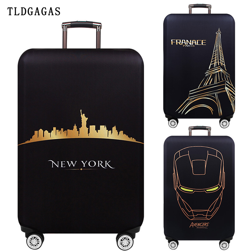 Global Attractions Luggage Cover Suitcase Elastic Protection Case Covers Trolley Thicken Dust Cover Travel Accessories S M L XL