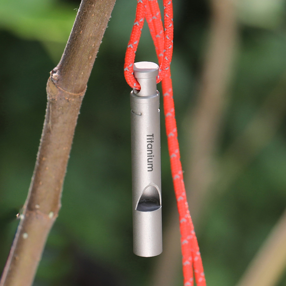 Ultralight Titanium Emergency Whistle with Cord Outdoor Survival Camping