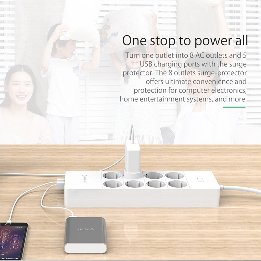 Image 5 - ORICO Electrical Socket EU Plug Extension Socket  Outlet Surge  Protector EU Power Strip with 5x2.4A USB Super Charger Portsorico power  stripeu power stripoutlet surge protector