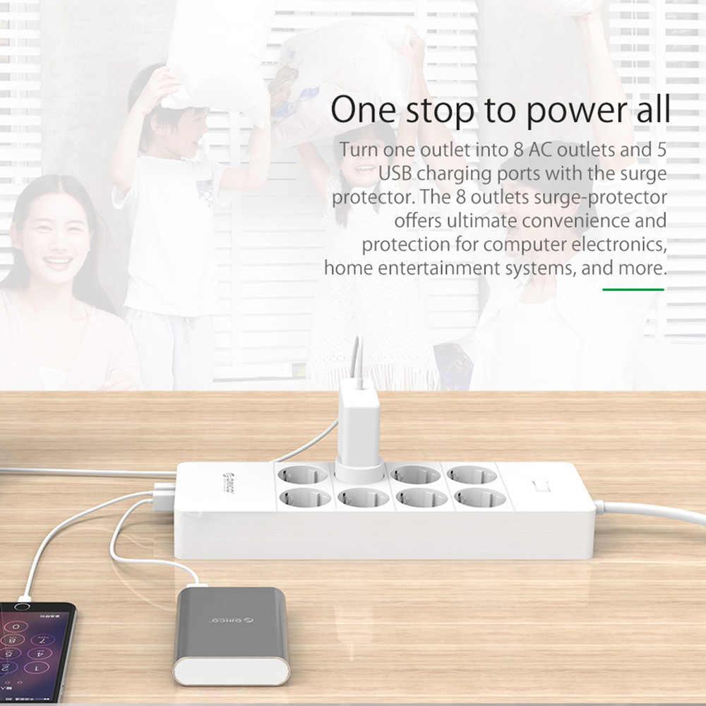ORICO toma de corriente EU, extensión de enchufe, toma de corriente, Protector de sobretensión, tira de alimentación EU con 5 puertos USB 2,4 A