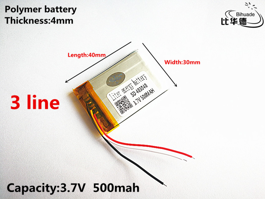 Generous 3 Line Good Qulity 3.7v,500mah,403040 Polymer Lithium Ion / Li-ion Battery For Toy,power Bank,gps,mp3,mp Cleaning The Oral Cavity.