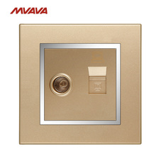 MVAVA TV/Television Aerial + Network Internet LAN RJ45 PC/Computer Wall Socket Luxury Chrome Champagne Gold Outlet Free Shipping