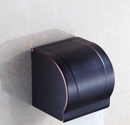 Oil Rubbed Bronze bathroom tissue box holder, European Toilet paper roll holders wall mount, Kitchen waterproof paper holder box bathroom oil rubbed bronze paper holders rack antique orb toilet paper holder shelf black retro kitchen tissue paper holder