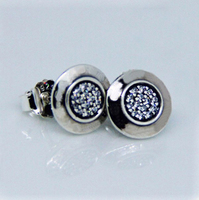 Compatible With Pandora Style Signature Silver Stud Earrings New Authentic 925 Sterling Silver Earring DIY Making