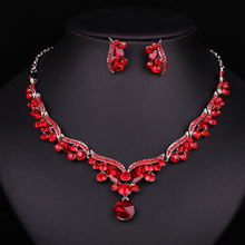New Fashion Luxury Silver Plated Red Crystal Bridal Jewelry Set For Brides Necklace Earring Wedding Party Accessories Gift Women